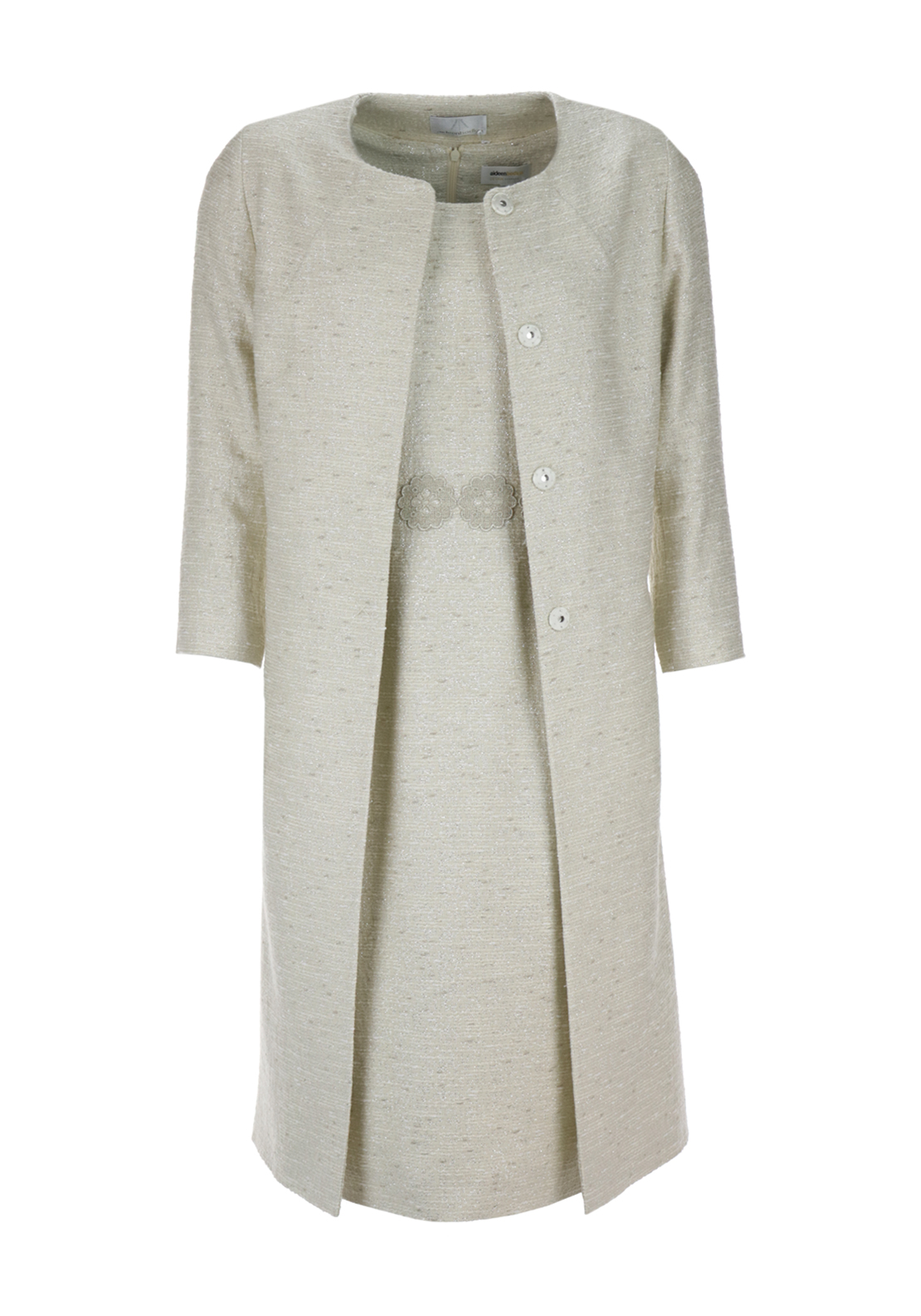 Aideen Bodkin Vista Dress & Calma Coat Outfit, Cream