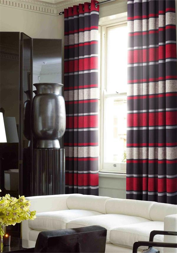 Alan Symonds Readymade Eyelet Fully Lined Pimlico Curtains, Red