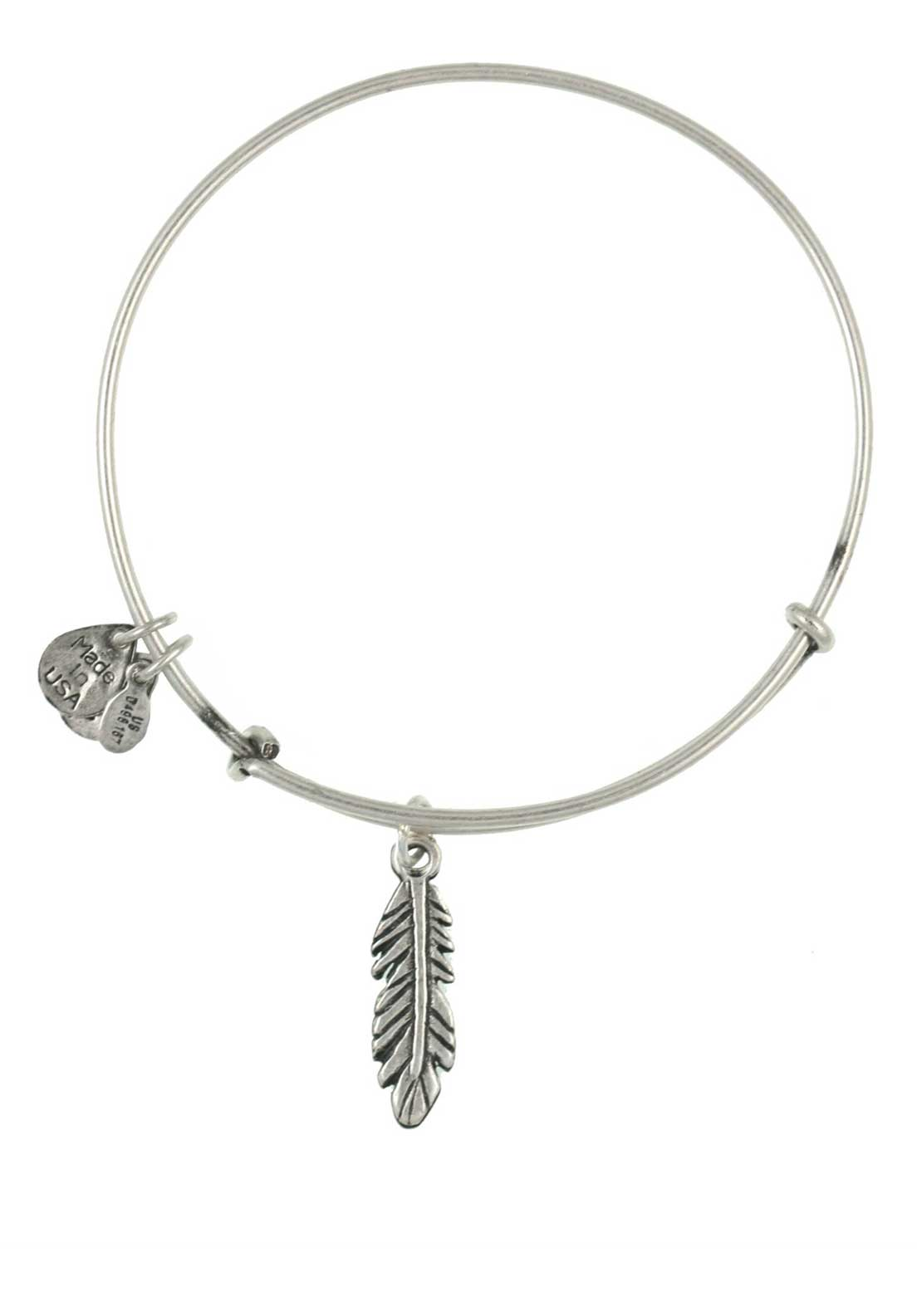 Alex and Ani (+) Energy Feather Bracelet, Silver