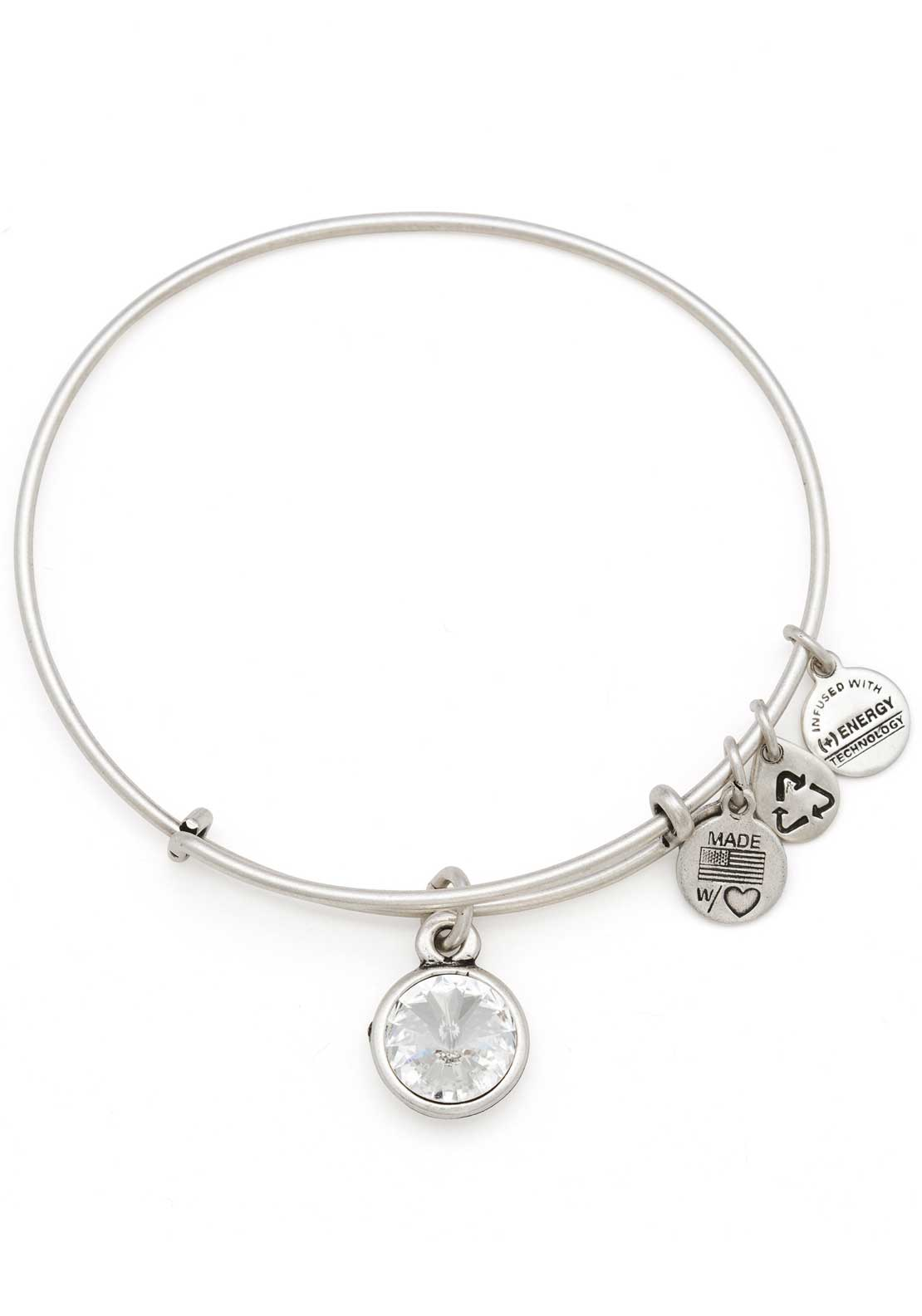 Alex and Ani (+) Energy April Birthstone Crystal Bracelet, Silver