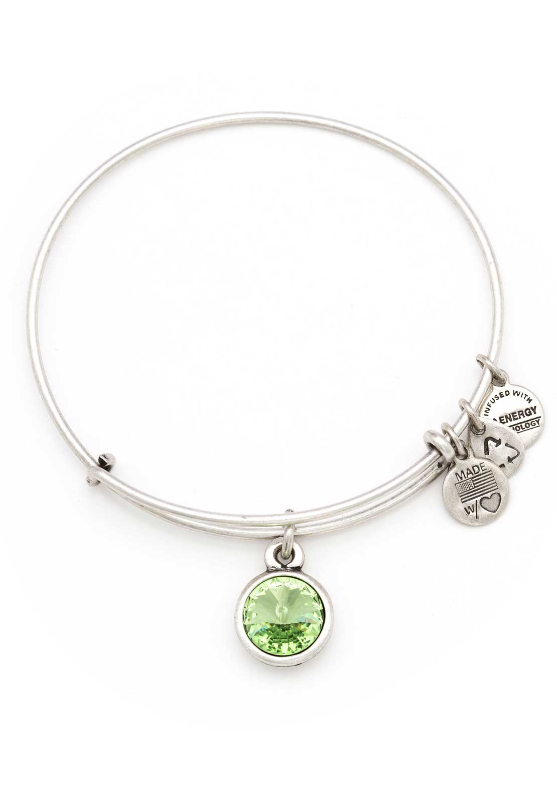 Alex and Ani (+) Energy August Birthstone Peridot Bracelet, Silver