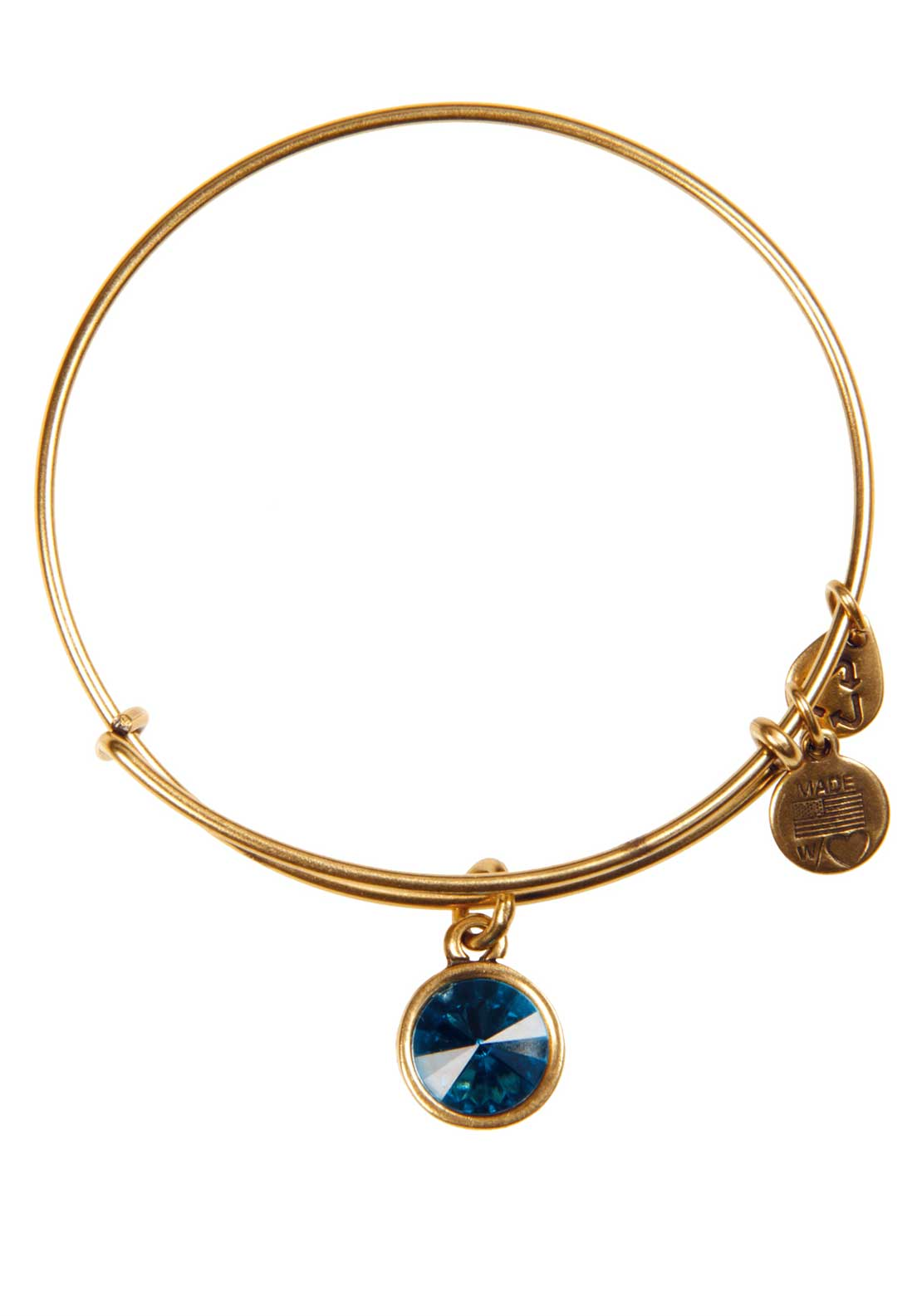 Alex and Ani (+) Energy December Blue Zircon Bracelet, Gold