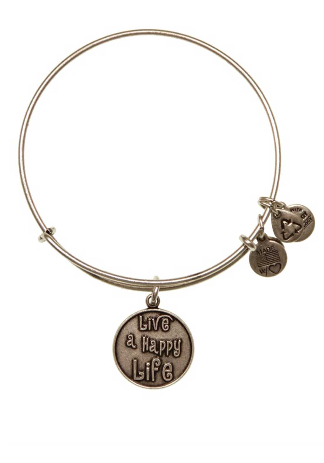 Alex and Ani (+) Energy Words are Powerful Live a Happy Life Bracelet, Silver