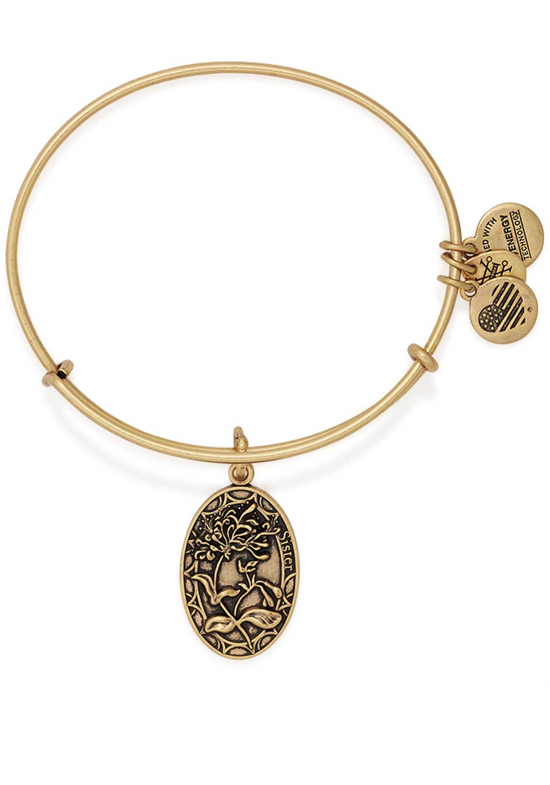 Alex and Ani Because I love you Sister Honeysuckle Bracelet, Gold