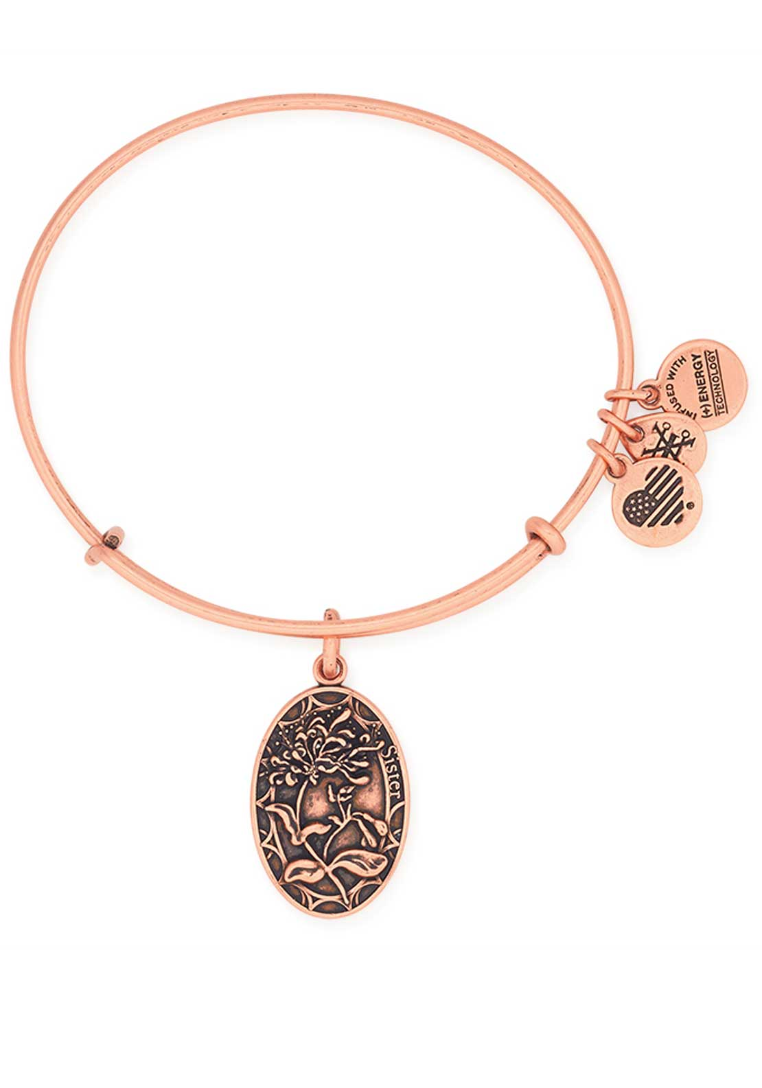 Alex and Ani Because I love you Sister Honeysuckle Bracelet, Rose Gold
