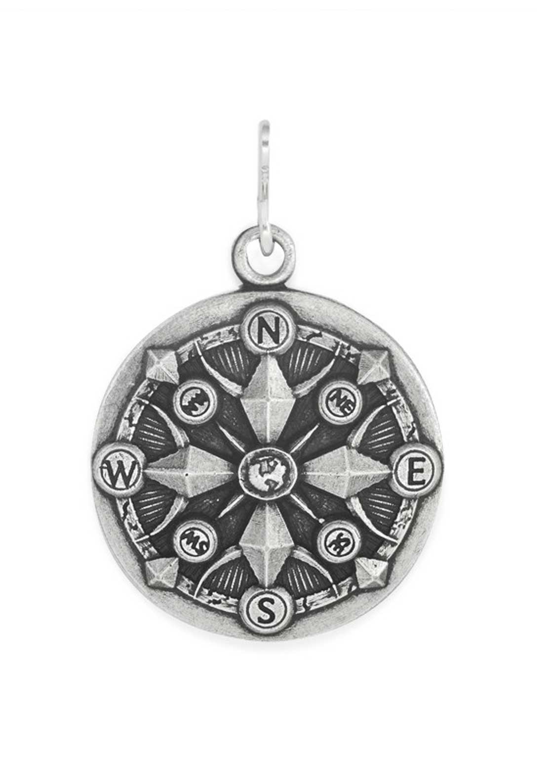 Alex and Ani Chain Station Compass Charm Silver