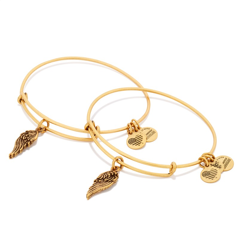 Alex and Ani Wings Set of 2 Charm Bracelets, Gold