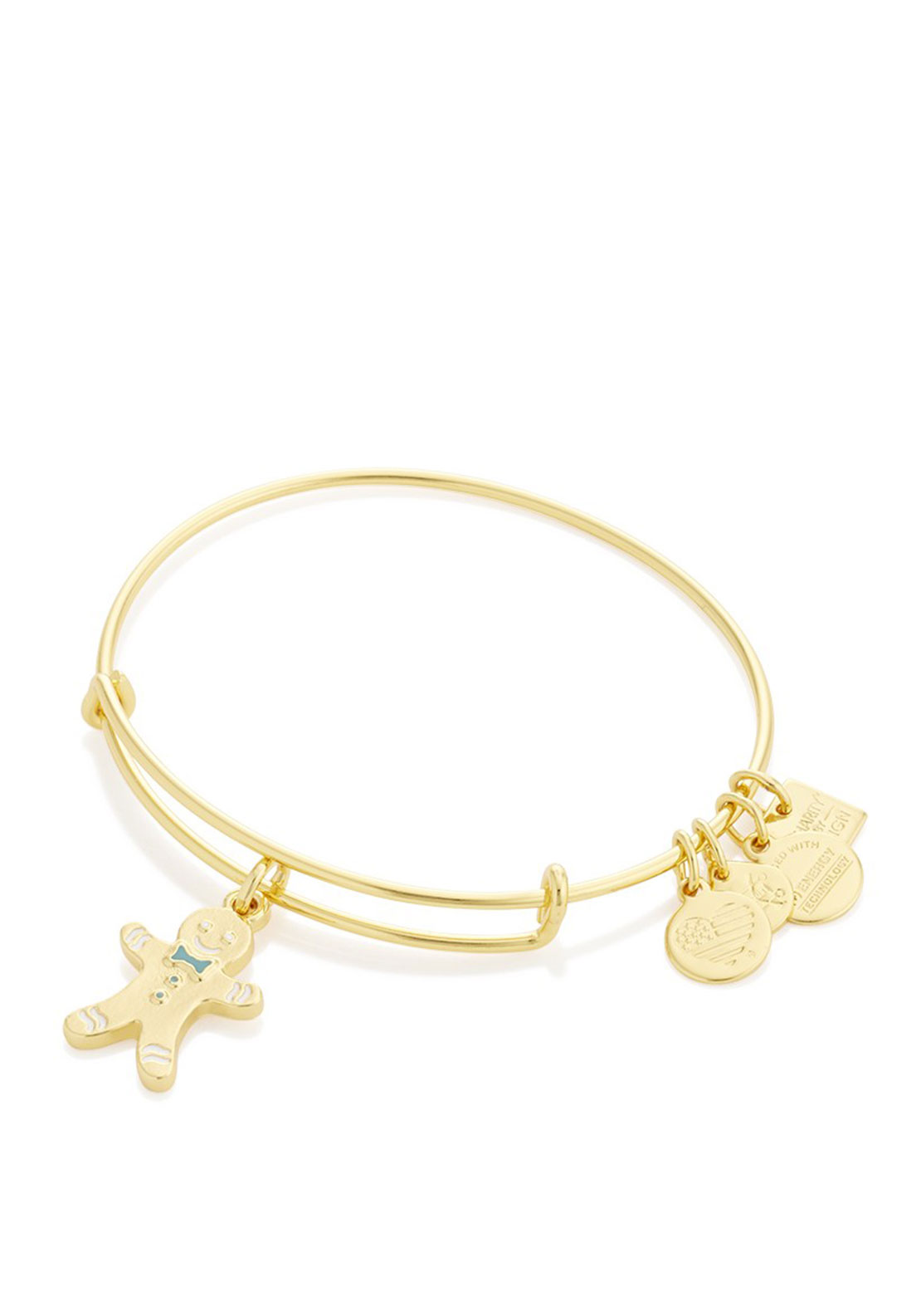 Alex and Ani Gingerbread Man Charm Bracelet, Gold
