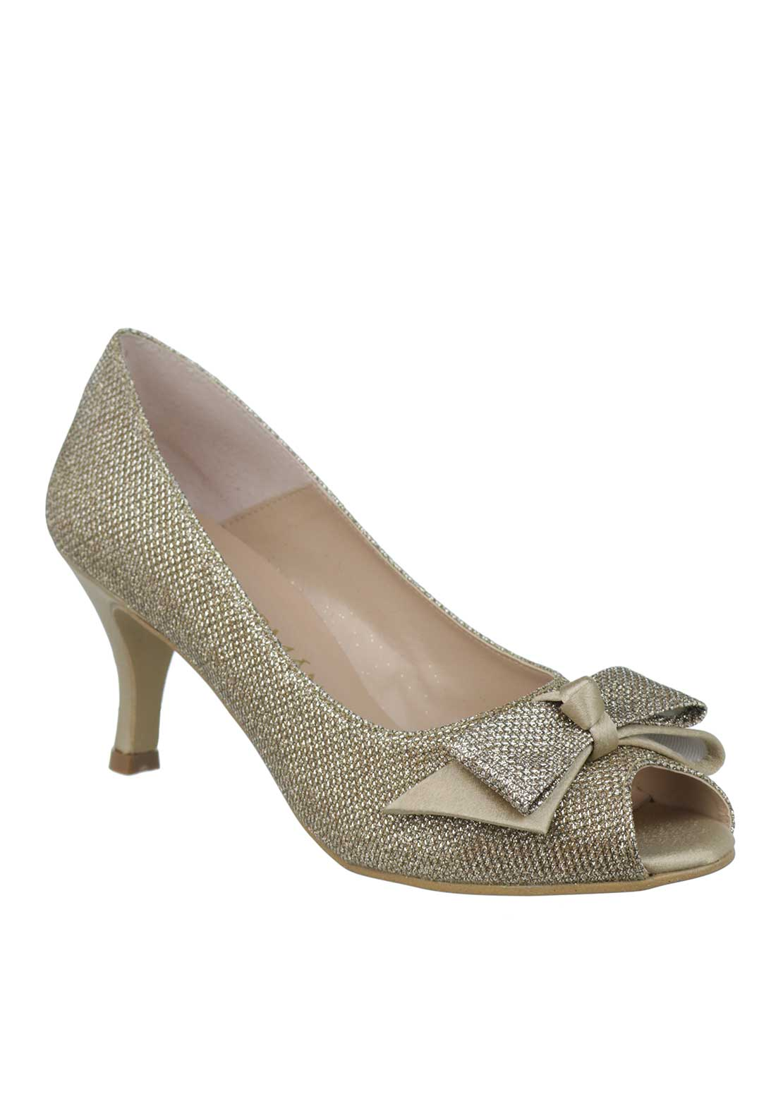 Ana Roman Shimmer Bow Peep Toe Heeled Shoes, Gold