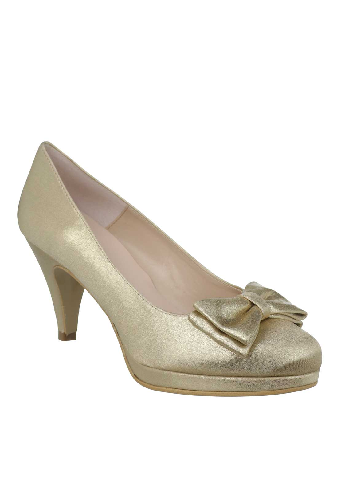 Ana Roman Satin Shimmer Bow Heeled Court Shoes, Gold