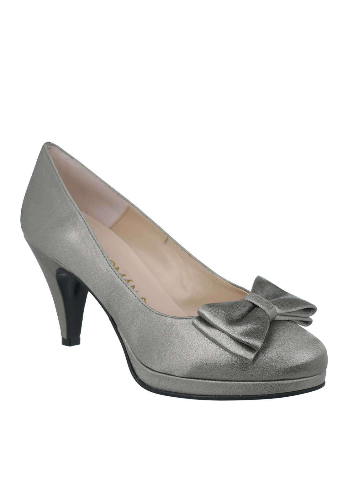 Ana Roman Satin Shimmer Bow Heeled Court Shoes, Pewter