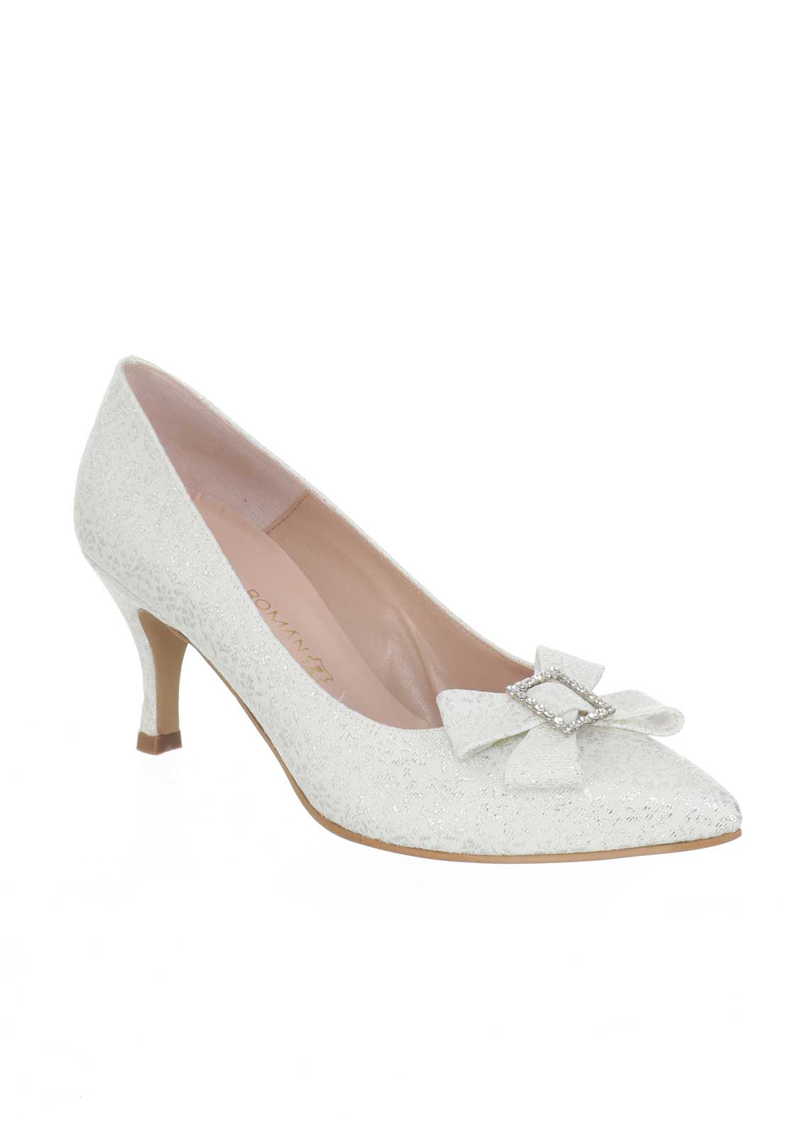 Ana Roman Ceremonial Heeled Court Shoes, White