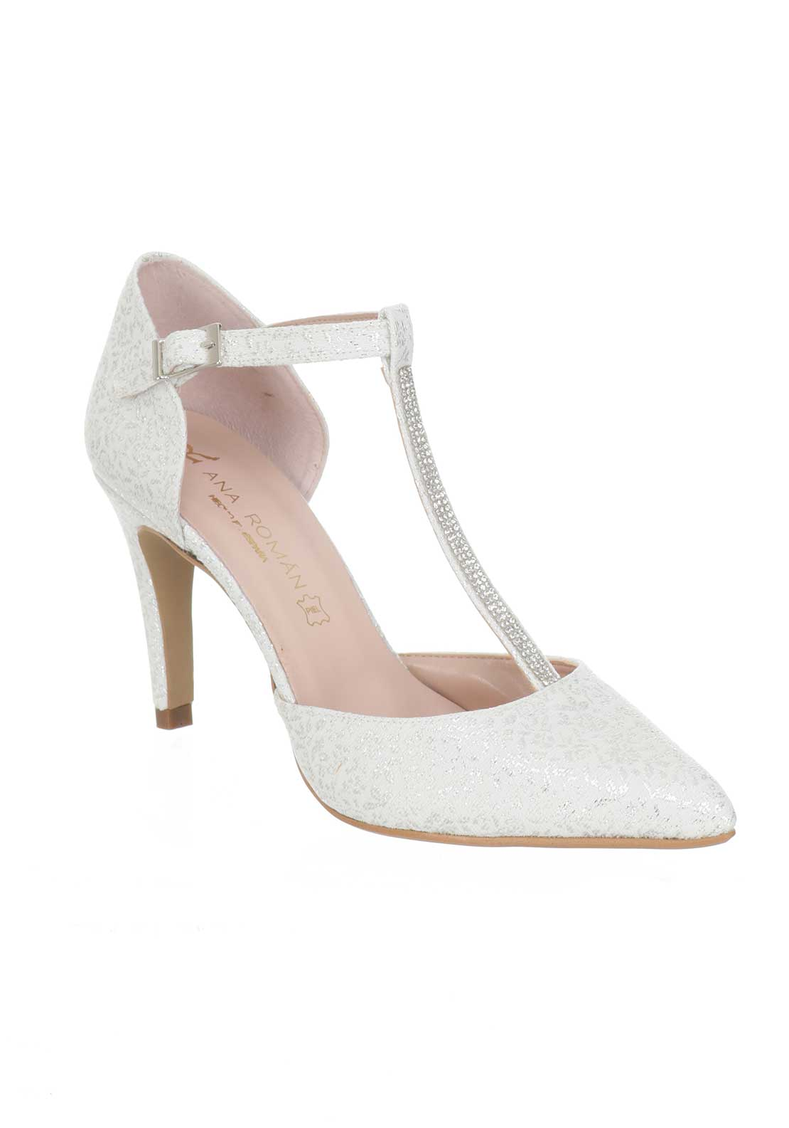 Ana Roman Ceremonial T-Bar Heeled Court Shoes, White