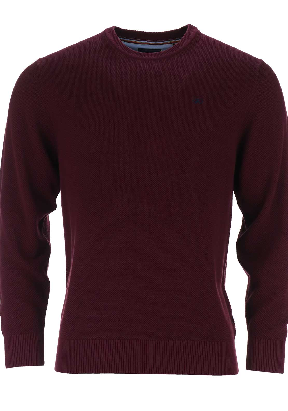 Andre Mens Allen Crew Neck Textured Knit, Port