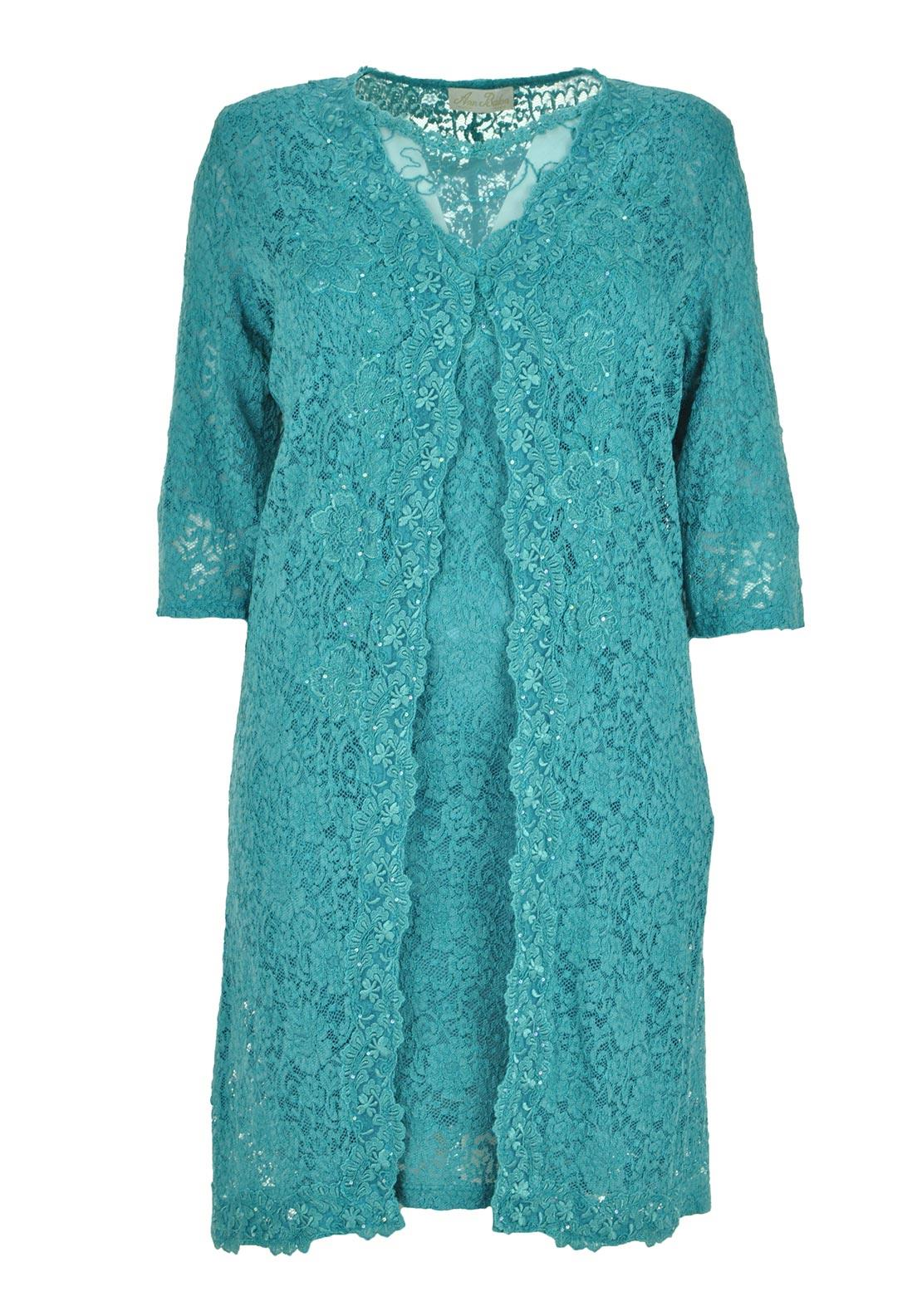 Ann Balon Annalisa Lace Dress and Long Jacket, Jade Green 14-16