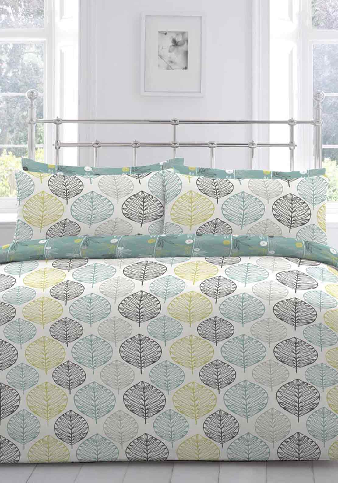 Appletree Atara Leaf Design Duvet Cover Set