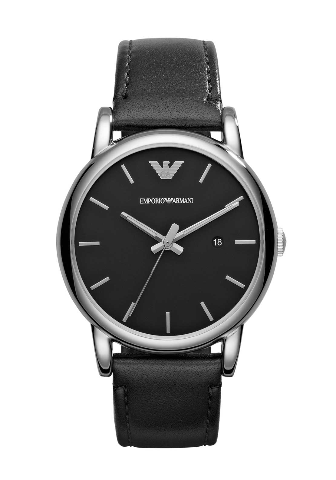 Emporio Armani Mens Classic Leather Strap Watch, Black