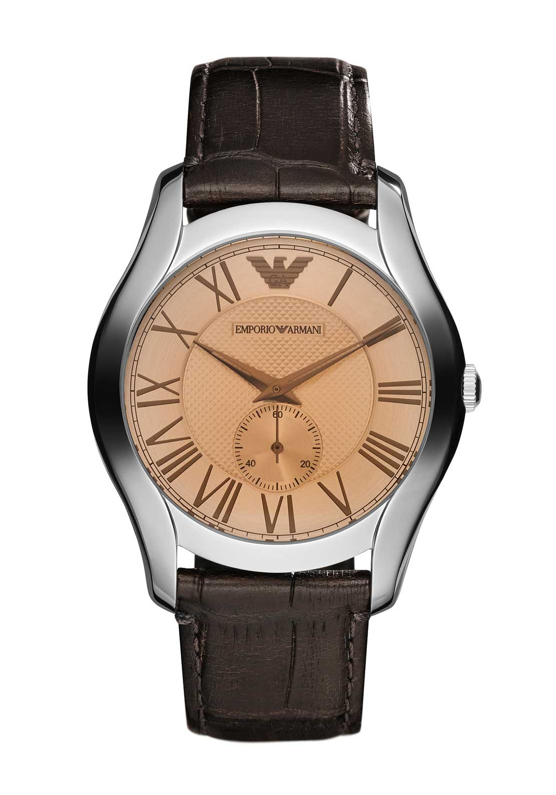 Emporio Armani Mens Three Hand Watch, Brown
