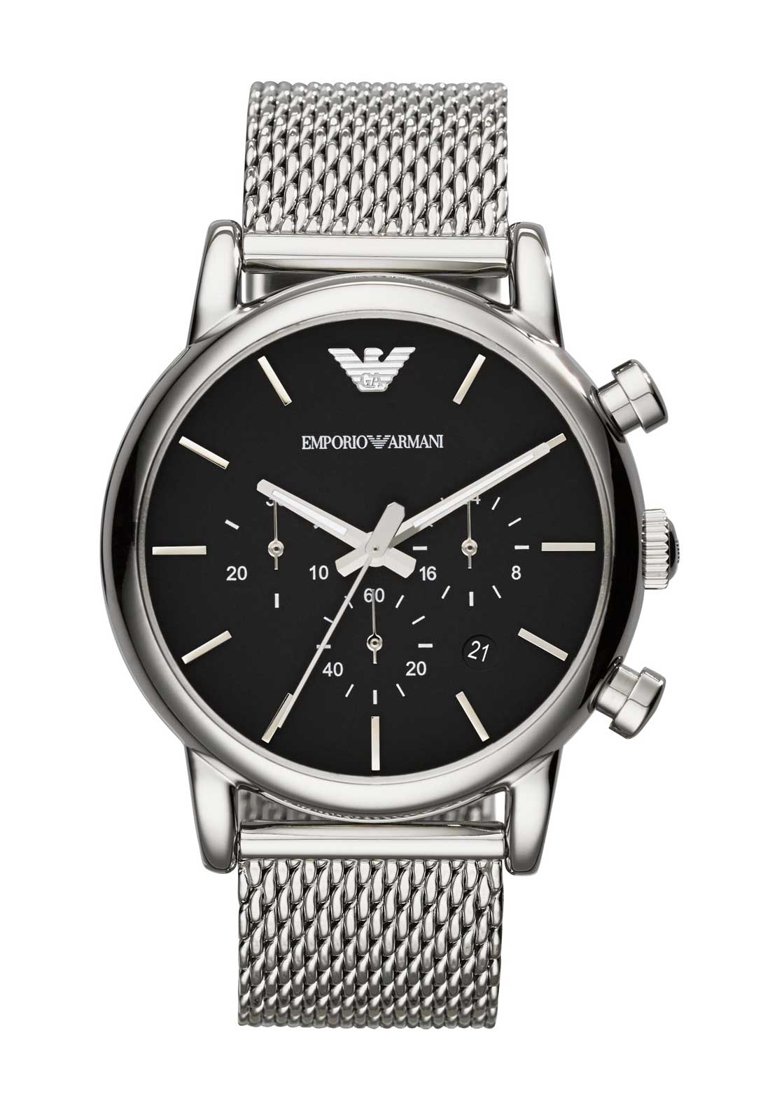 Emporio Armani Mens Chronograph Watch, Silver