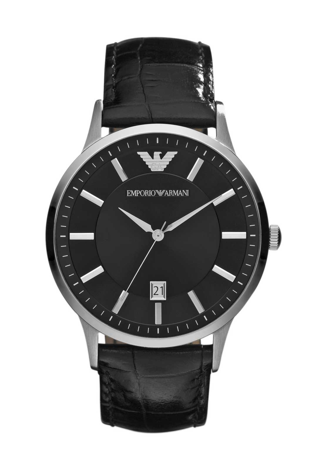 Emporio Armani Mens Leather Strap Watch, Black