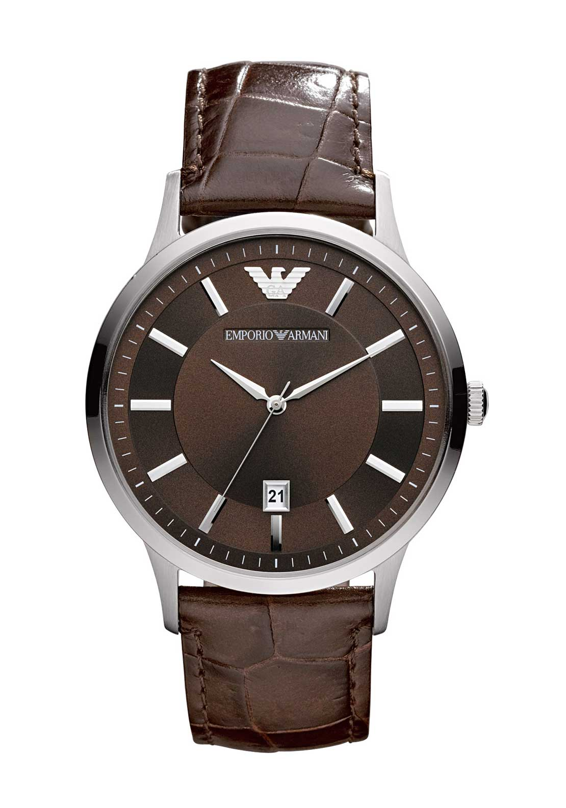 Emporio Armani Mens Embossed Leather Strap Watch, Brown