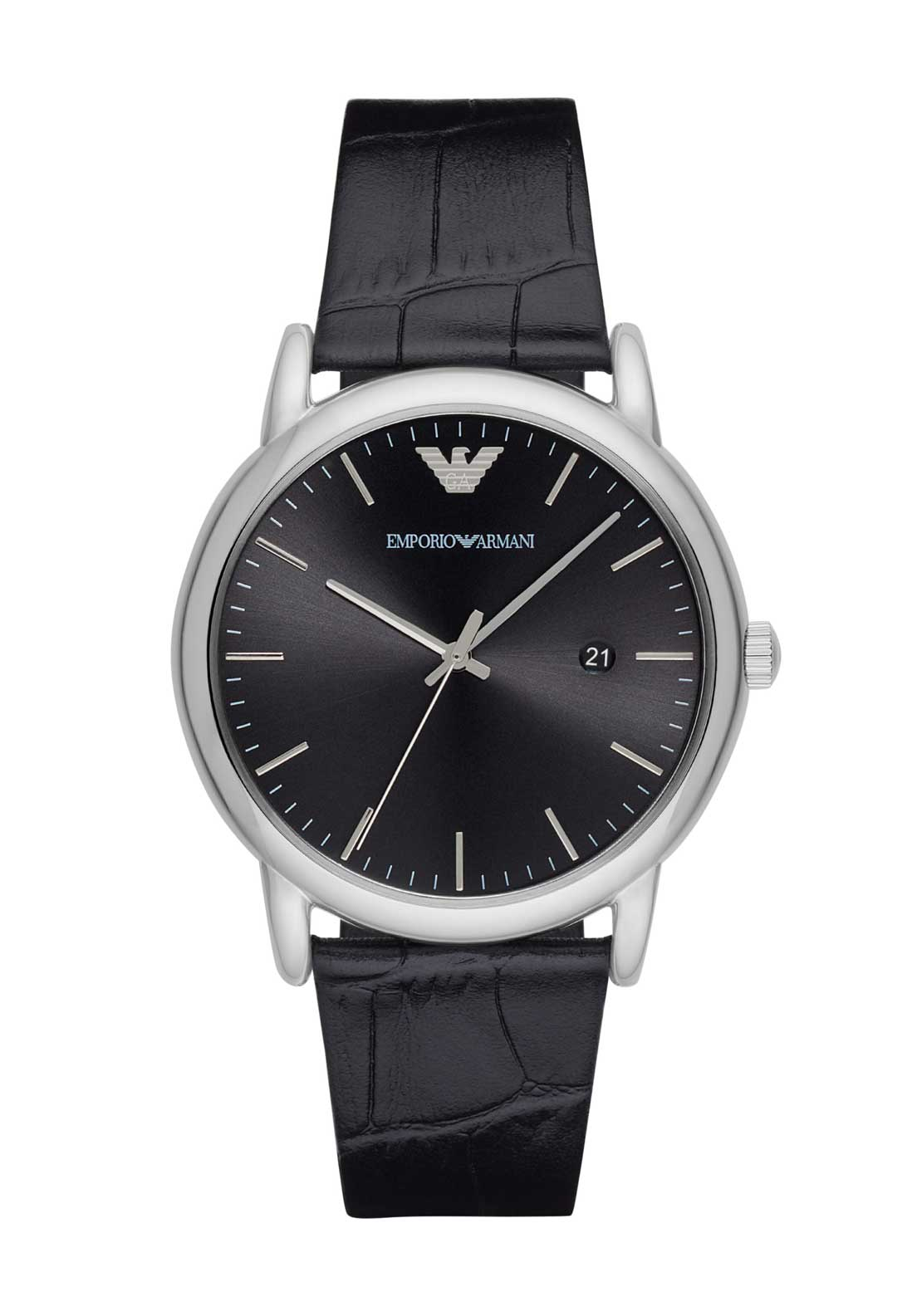 Emporio Armani Mens Embossed Leather Strap Watch, Black
