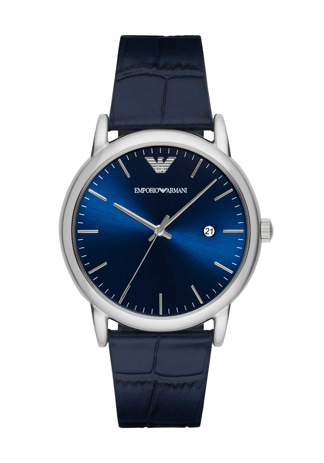 Emporio Armani Mens Leather Strap Watch, Navy
