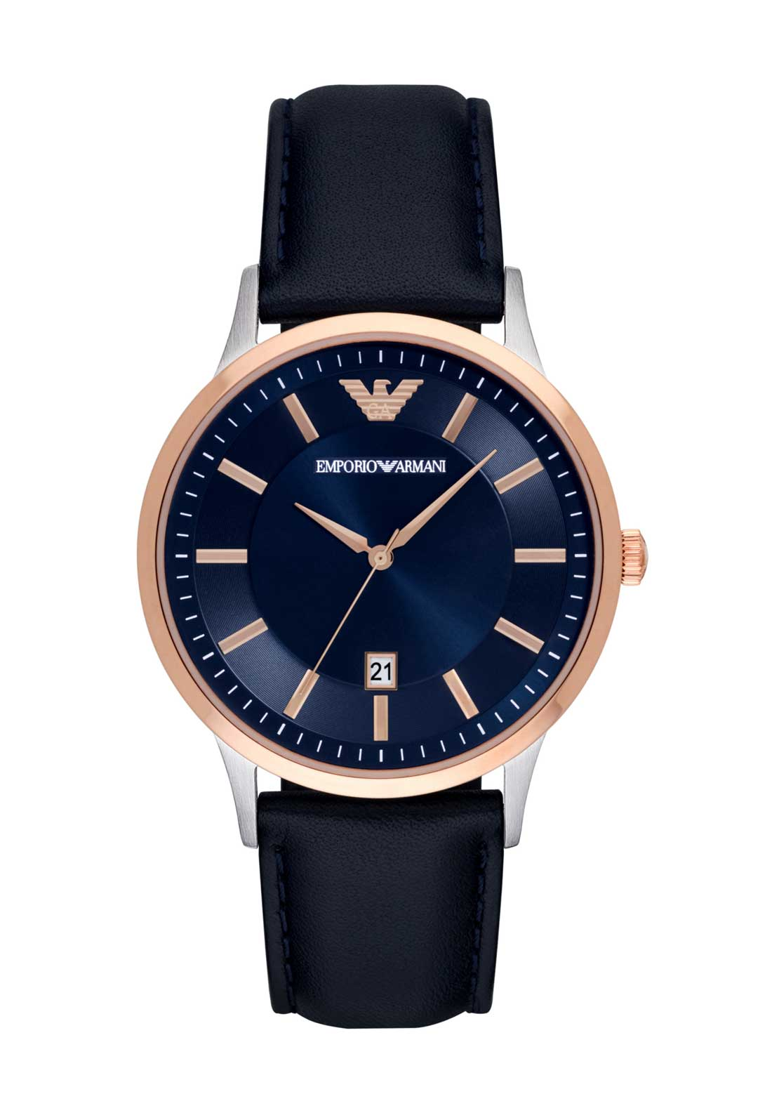 Emporio Armani Mens Classic Leather Strap Watch, Navy
