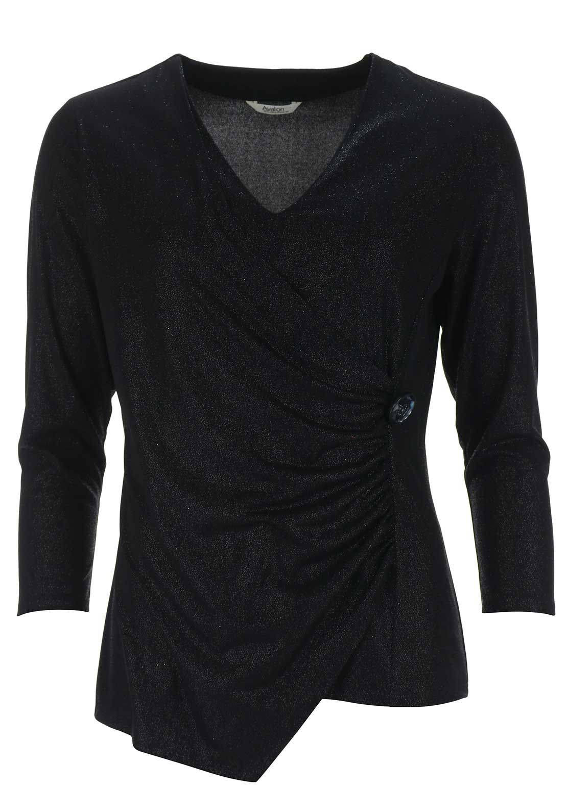Avalon Wrap Over Shimmer Top, Black