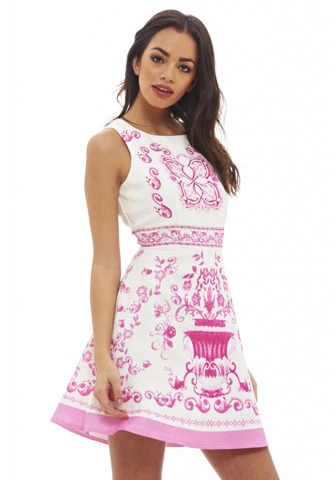 AX Paris Baroque Mini Skater Dress, Pink