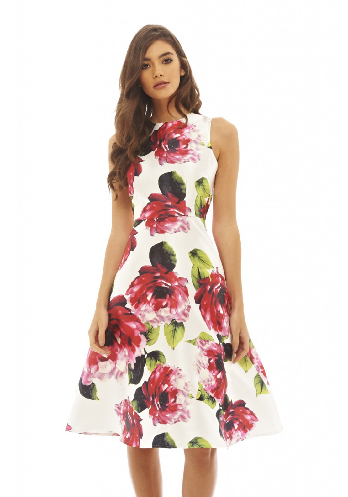 AX Paris Rose Print Midi Skater Dress, Cream