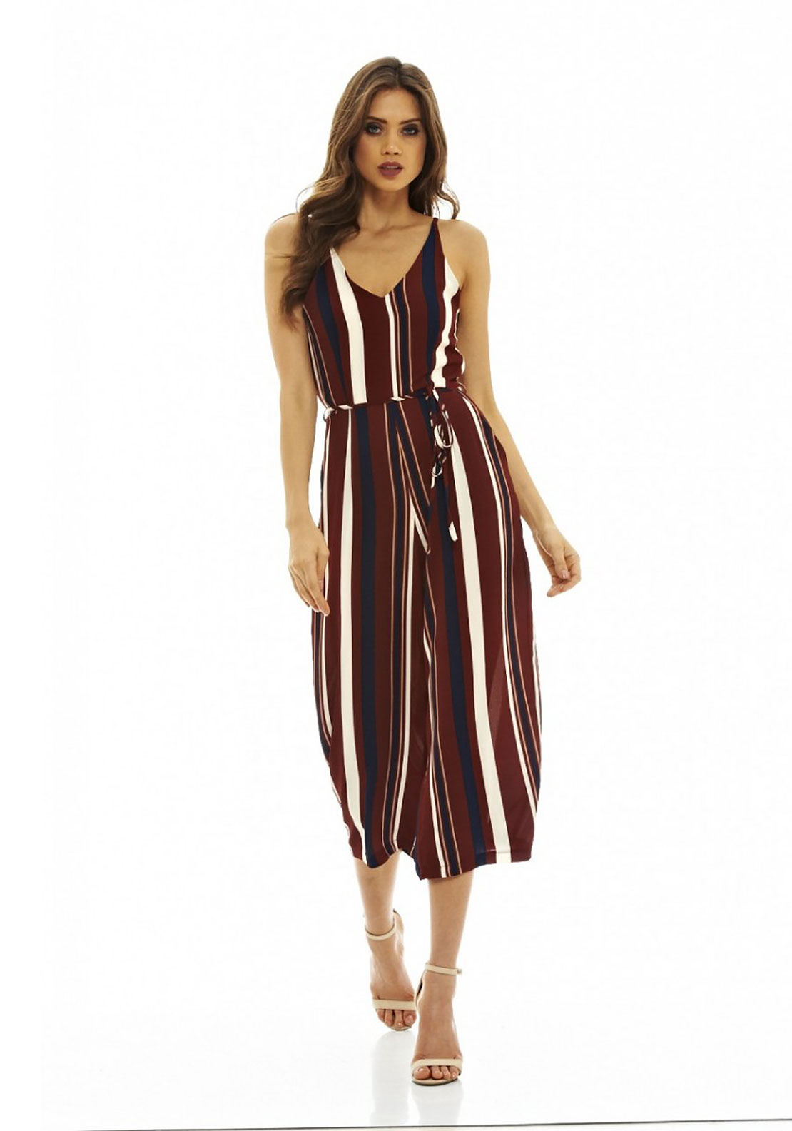 AX Paris Striped Culotte Jumpsuit, Burgundy