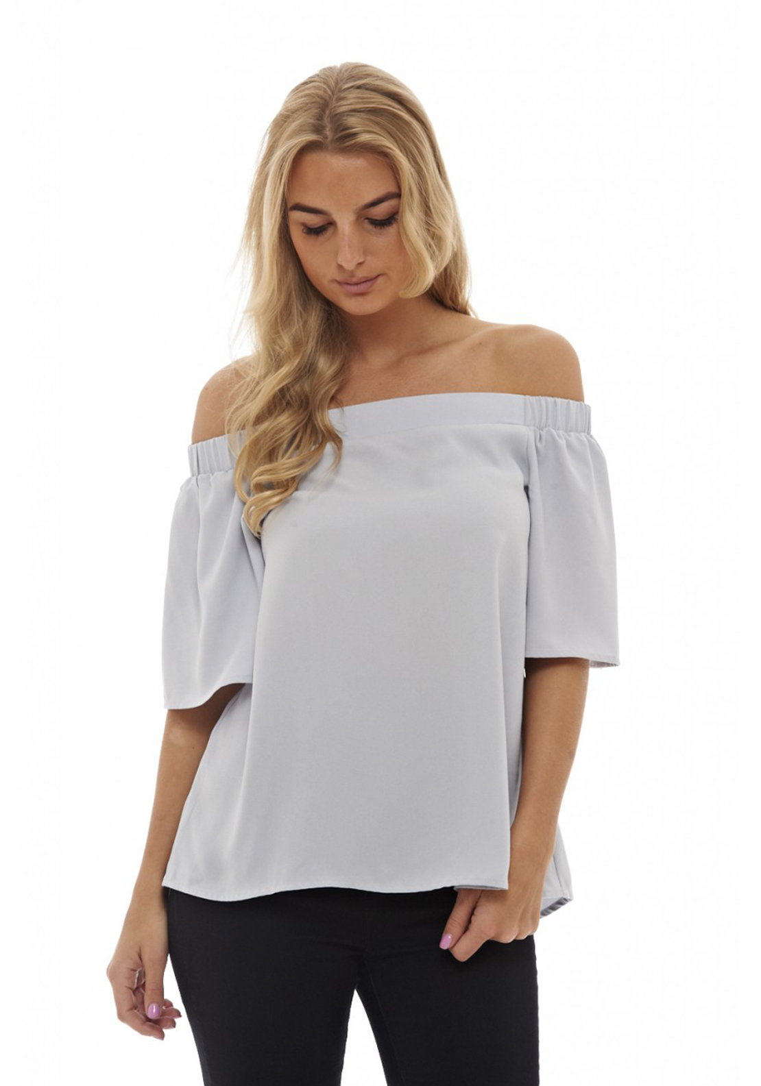 AX Paris Off The Shoulder Slit Back Top, Blue