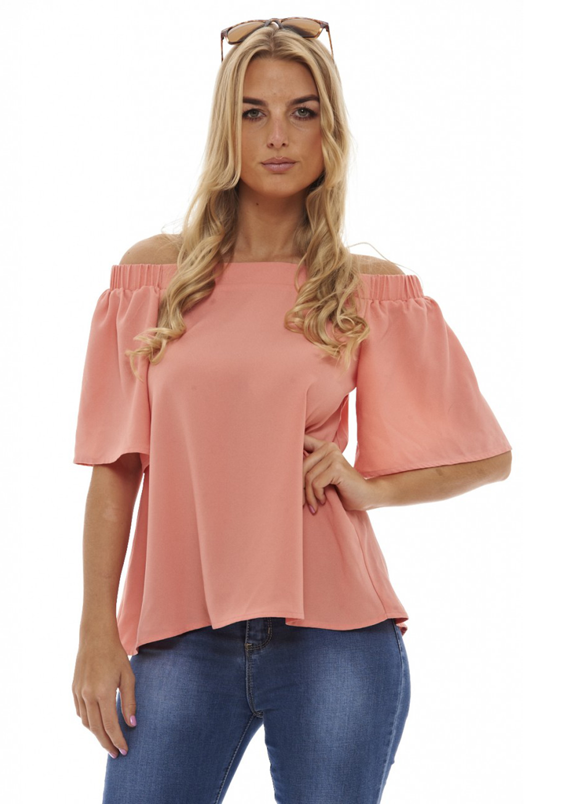 AX Paris Off The Shoulder Slit Back Top, Coral