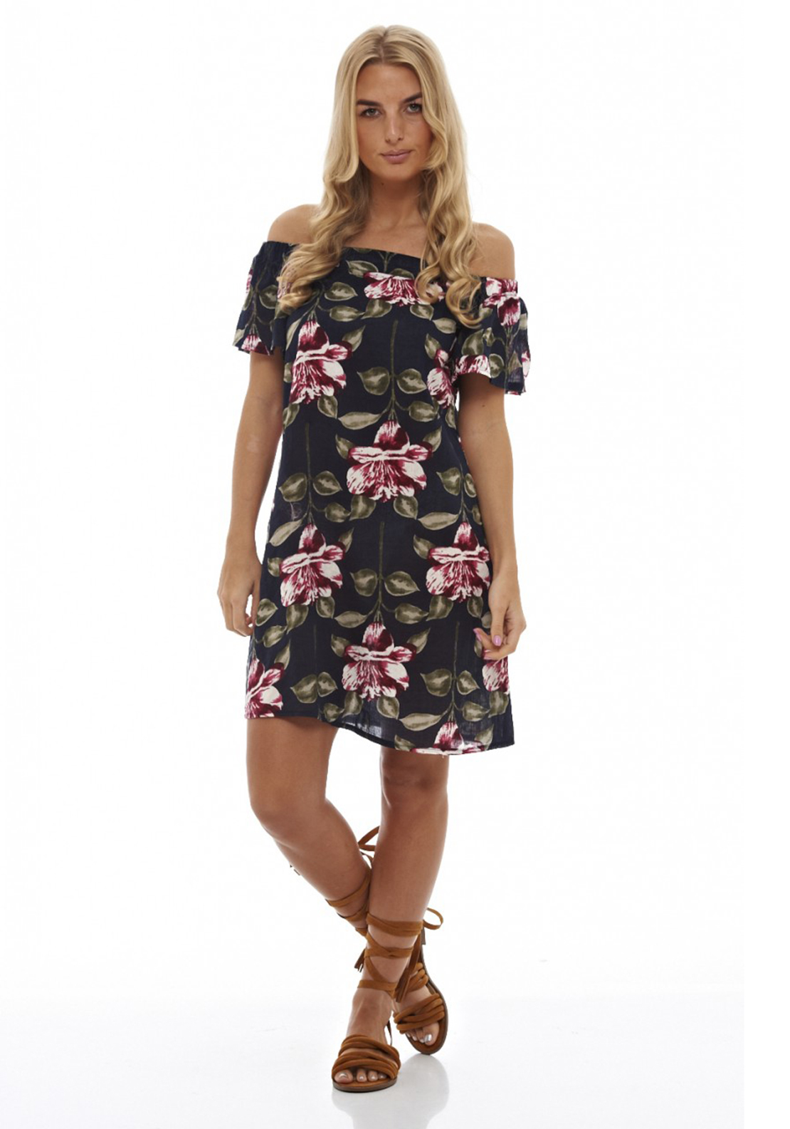 AX Paris Floral Off The Shoulder Shift Dress, Navy