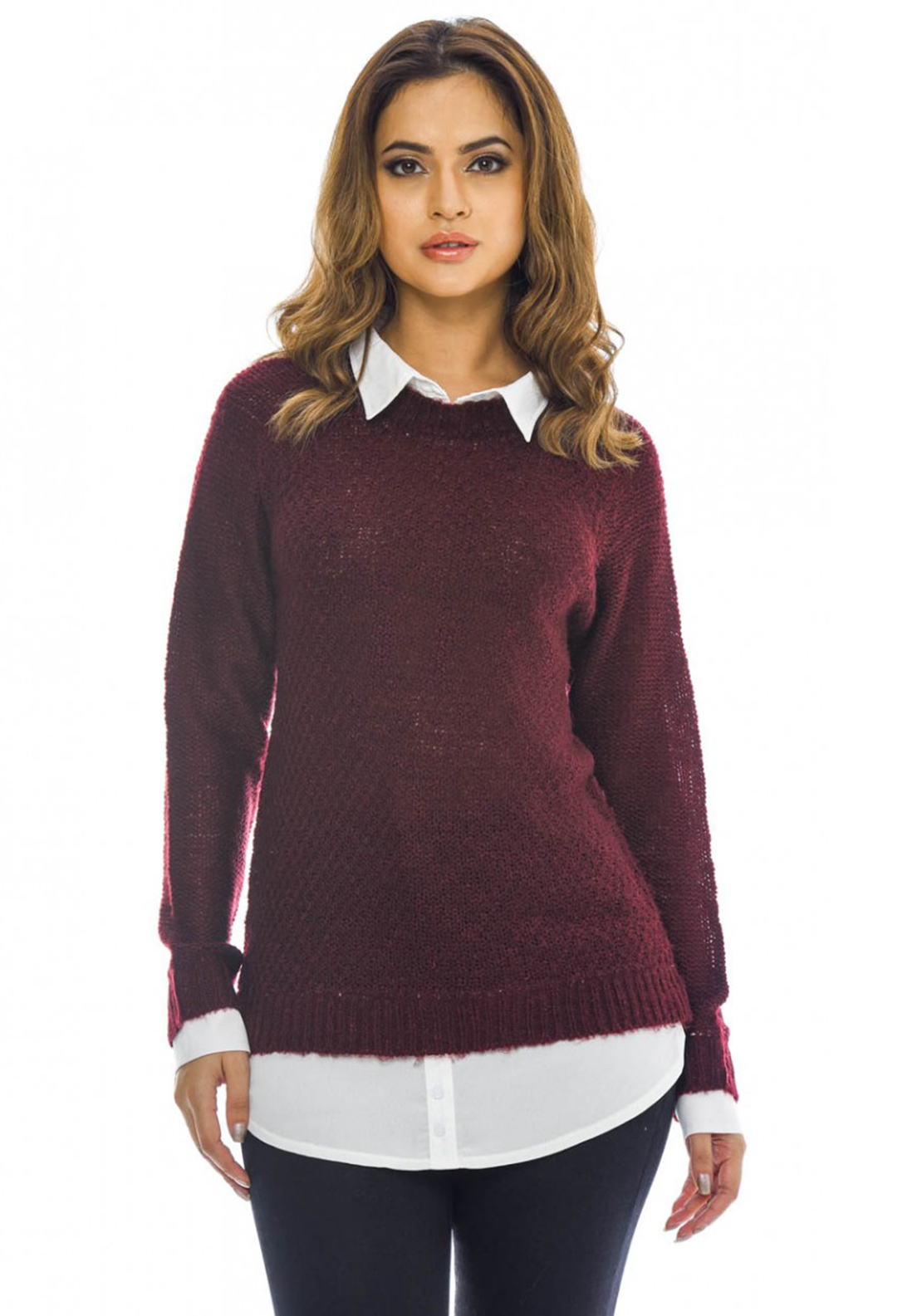 AX Paris Knitted Shirt Jumper, Wine