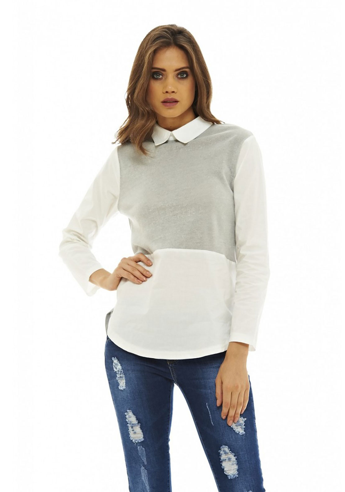 AX Paris Knitted Insert Top, Grey