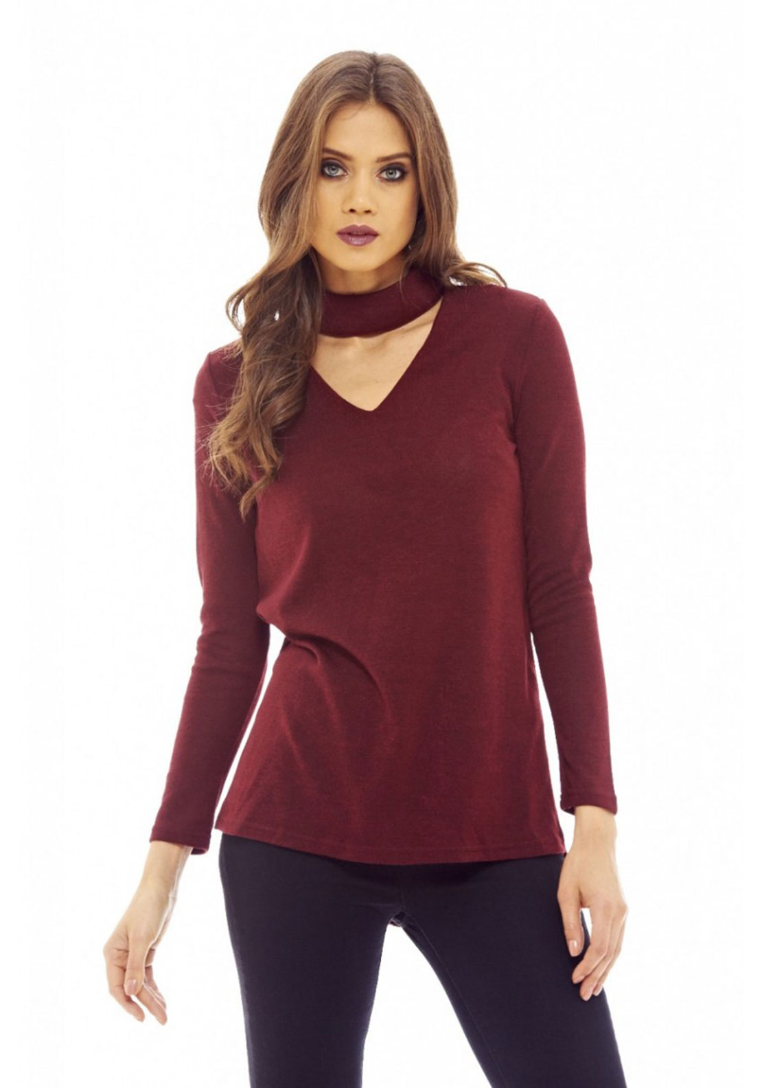AX Paris V Neck Choker Knitted Top, Wine