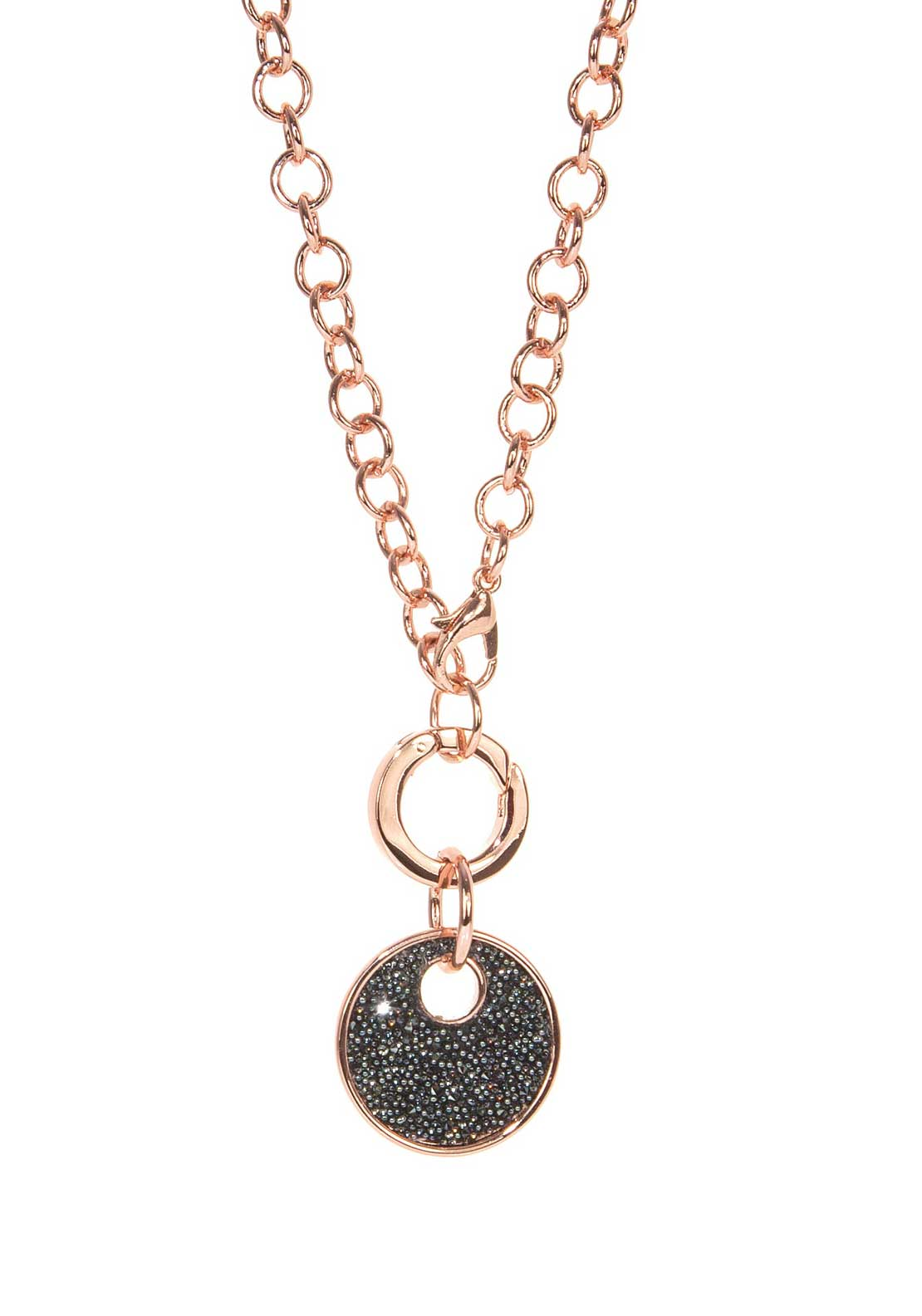 Absolute Jewellery Chain Bracelet with Black Coin Pendant, Rose Gold