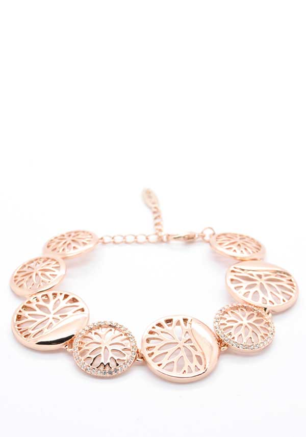Absolute Jewellery Floral Coin Bracelet, Rose Gold