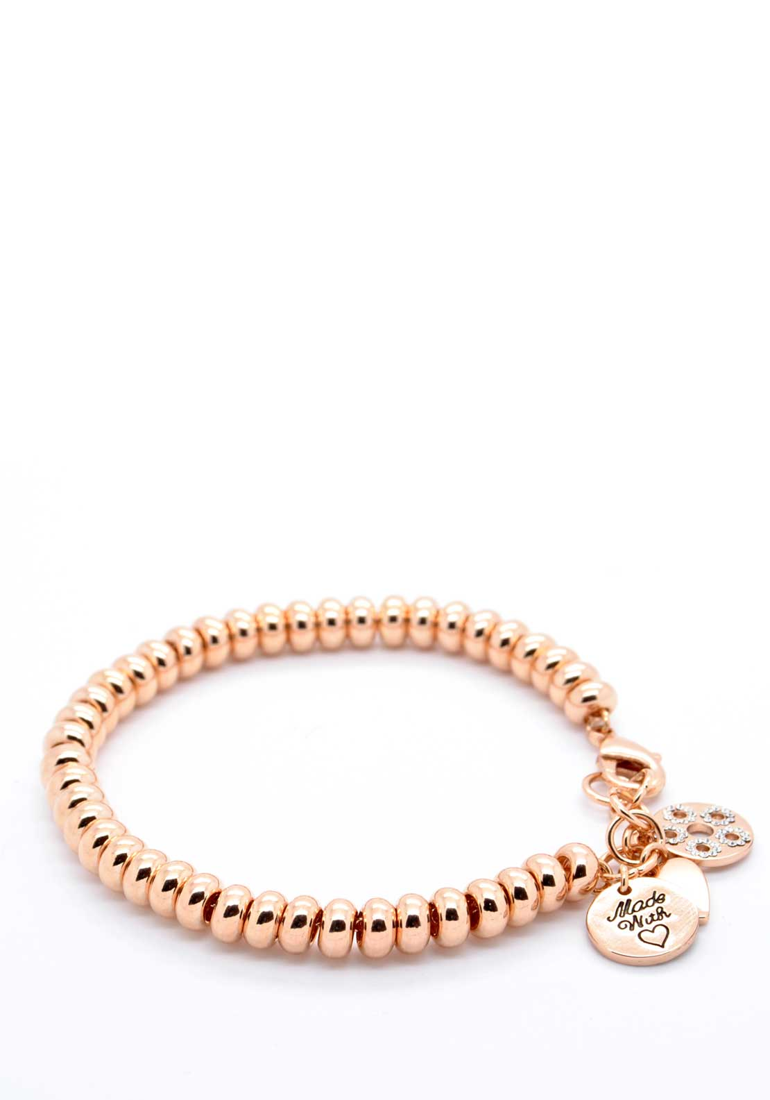 Absolute Jewellery Designer Style Charm Bracelet, Rose Gold