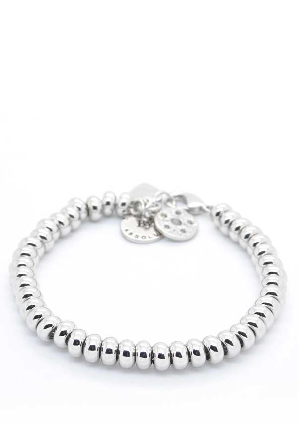 Absolute Jewellery Silver Beaded Bracelet, Silver