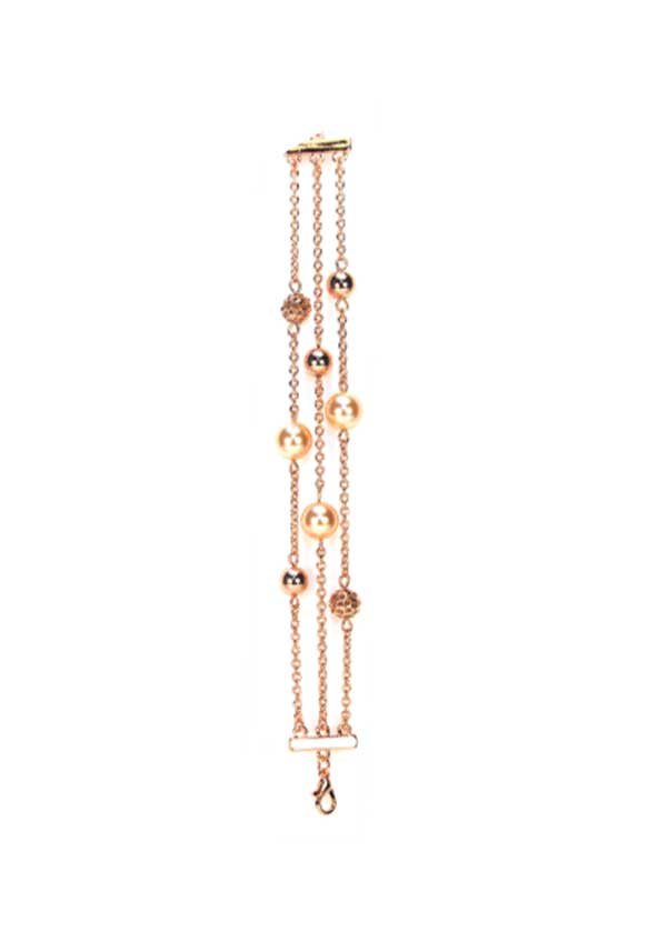 Absolute Jewellery Three Strand Pearl & Shambhala Bracelet, Rose Gold