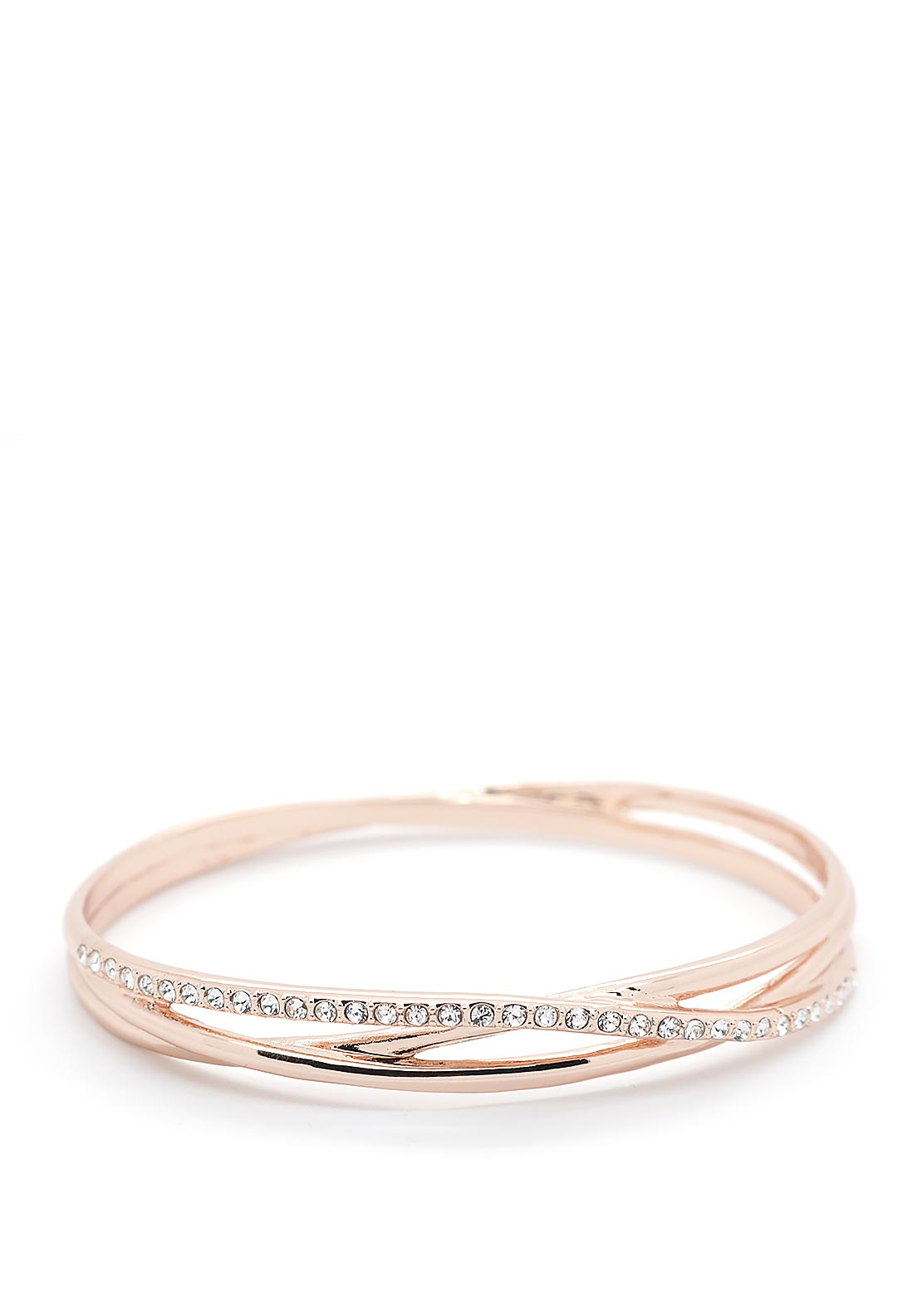 Absolute Crystal Criss-Cross Bangle, Rose Gold