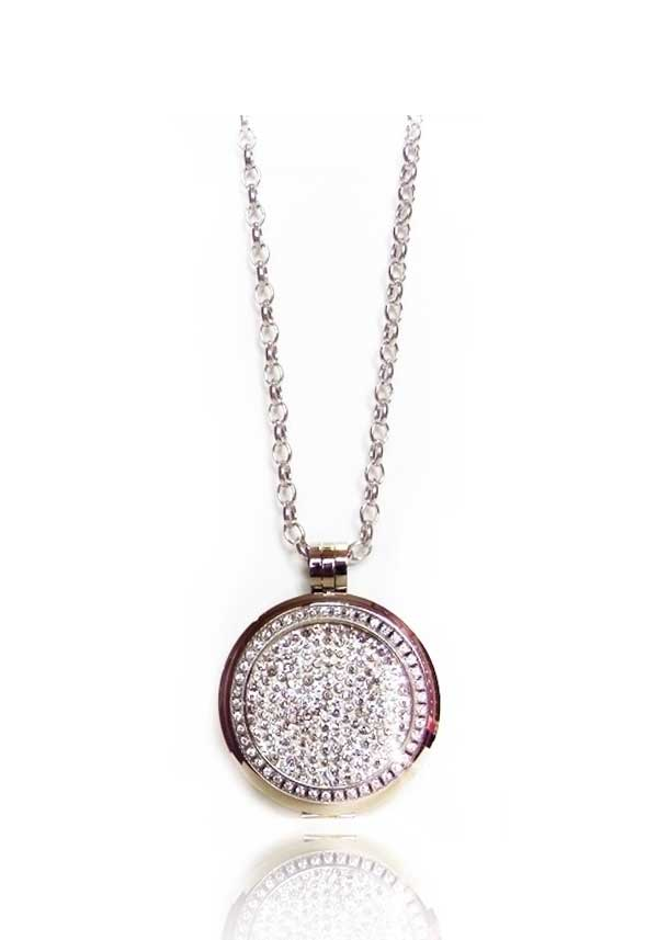 Absolute Jewellery Long Chain with Crystal Set Pendant & Clear Crystal Coin, Silver