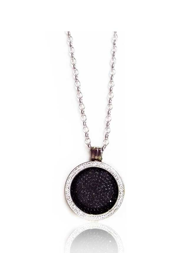 Absolute Jewellery Long Chain with Crystal Set Coin Pendant & Black Coin, Silver