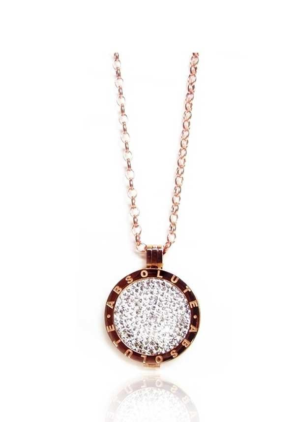 Absolute Jewellery Long Chain with Coin Pendant & Crystal Coin, Rose Gold
