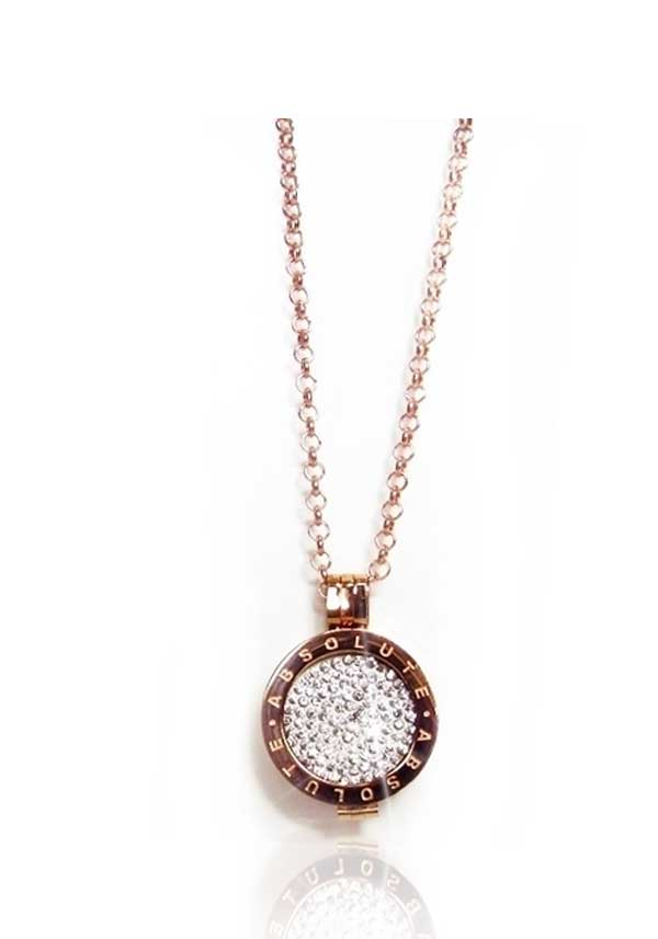 Absolute Jewellery Short Chain with Pendant & Clear Crystal Coin, Rose Gold
