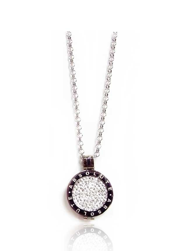 Absolute Jewellery Short Chain with Pendant & Clear Crystal Coin, Silver