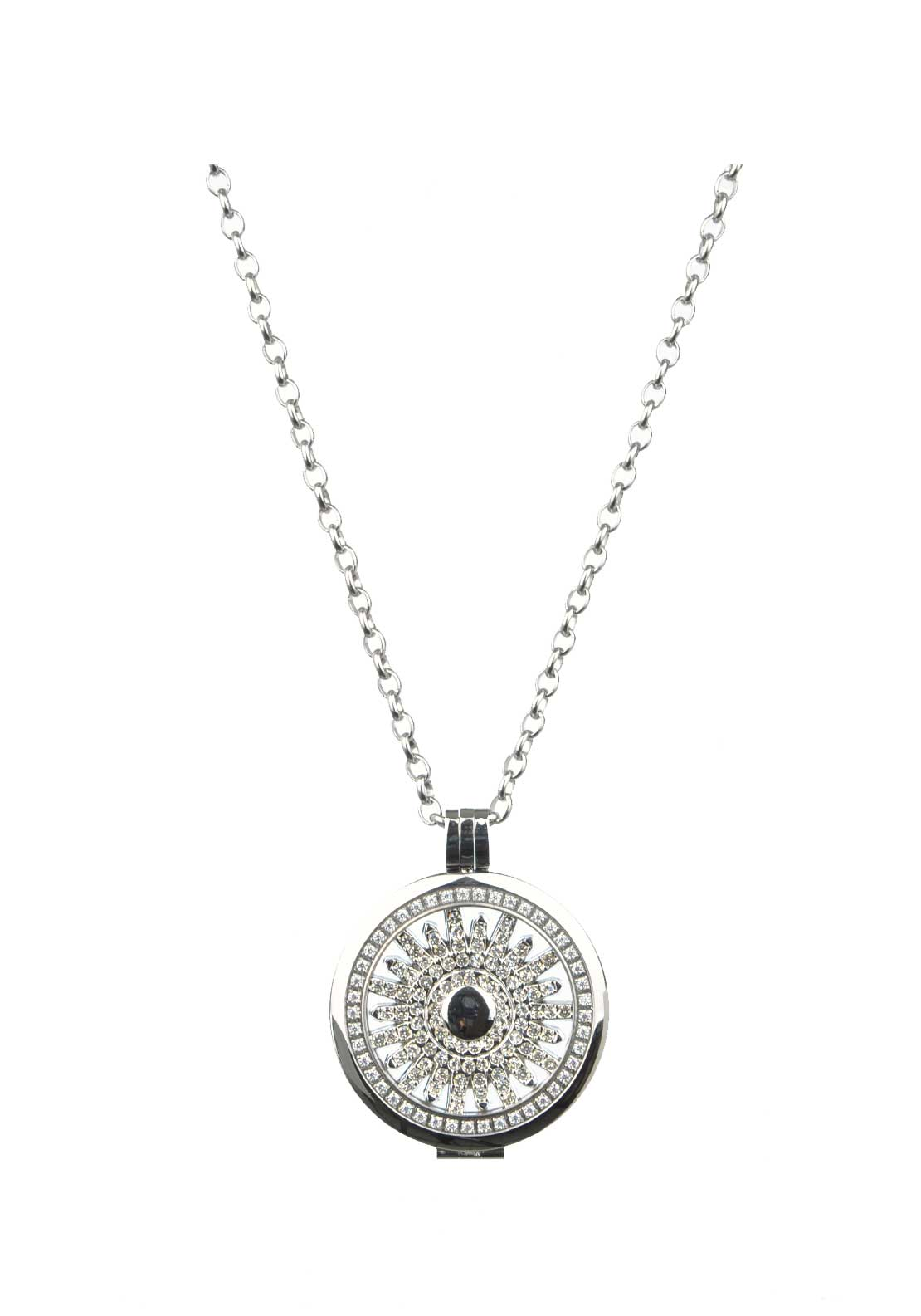 Absolute Jewellery Large Sunburst Pendant and Chain, Silver